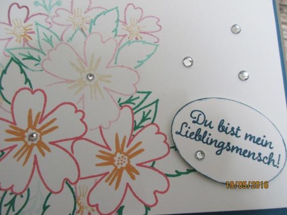 """Nahaufnahme - Blumen und Spruch """"Du bist mein Lieblingsmensch"""""""